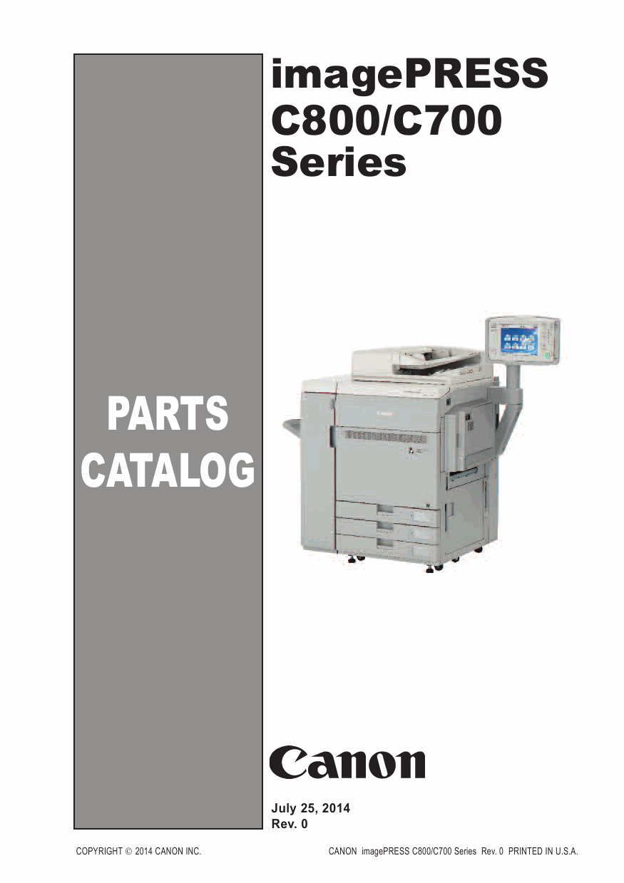 Canon imagePRESS C800 C700 Parts Catalog Manual-1